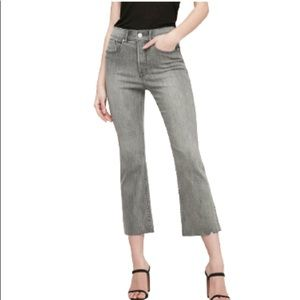 High Waisted Faded Black Cropped Flare Jeans